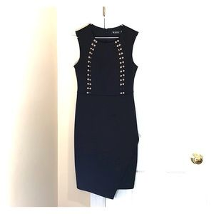 GUESS LITTLE BLACK SLEEVELESS DRESS SILVER EYELETS